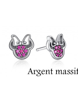 Boucles Minnie Strass Rose Argent Massif
