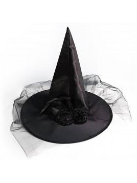 Chapeau de Sorcière Halloween pas cher Violet ou Noir avec Voile