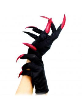 Paire de Gants avec Ongles Long Rouge Pailleté halloween vampire sorcière déguisement original sexy