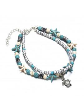 Bracelet de Cheville - Turquoise et Tortue