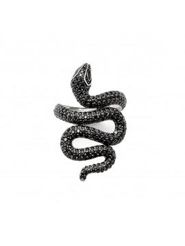 Bague Serpent - Argent et Zircon ajustable