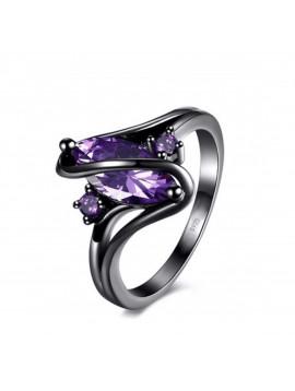 Bague purple noir, argent 925