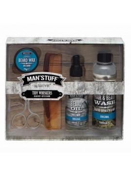 Kit de Barbe Tidy Whiskers - Man'Stuff homme cadeau original pas cher moustache huile soin