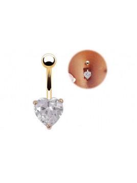 Piercing Nombril Coeur Cristal Doré