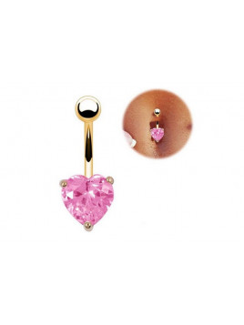 Piercing Nombril Coeur Rose ou Violet Doré