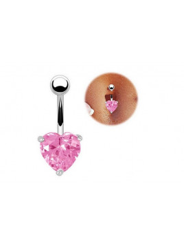 Piercing Nombril Coeur Cristal Rose Argenté
